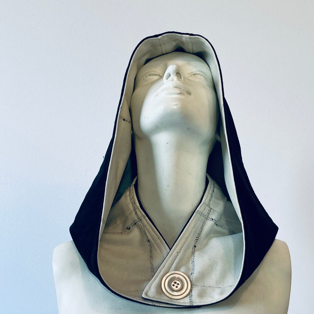 Image of Reversible Cream and Black Hood