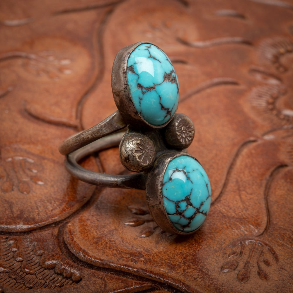 Image of 1970s Turquoise & Sterling Silver Ring with twin egg shaped cabochons set one on top of  Size 4.75