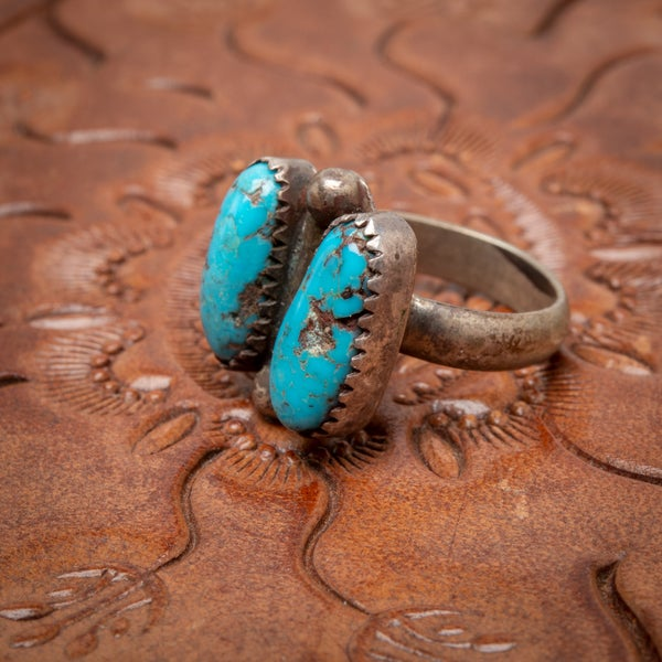 Image of 1970s Turquoise & Sterling Silver Ring with twin long oval shaped cabochons side by side  Size 5.75