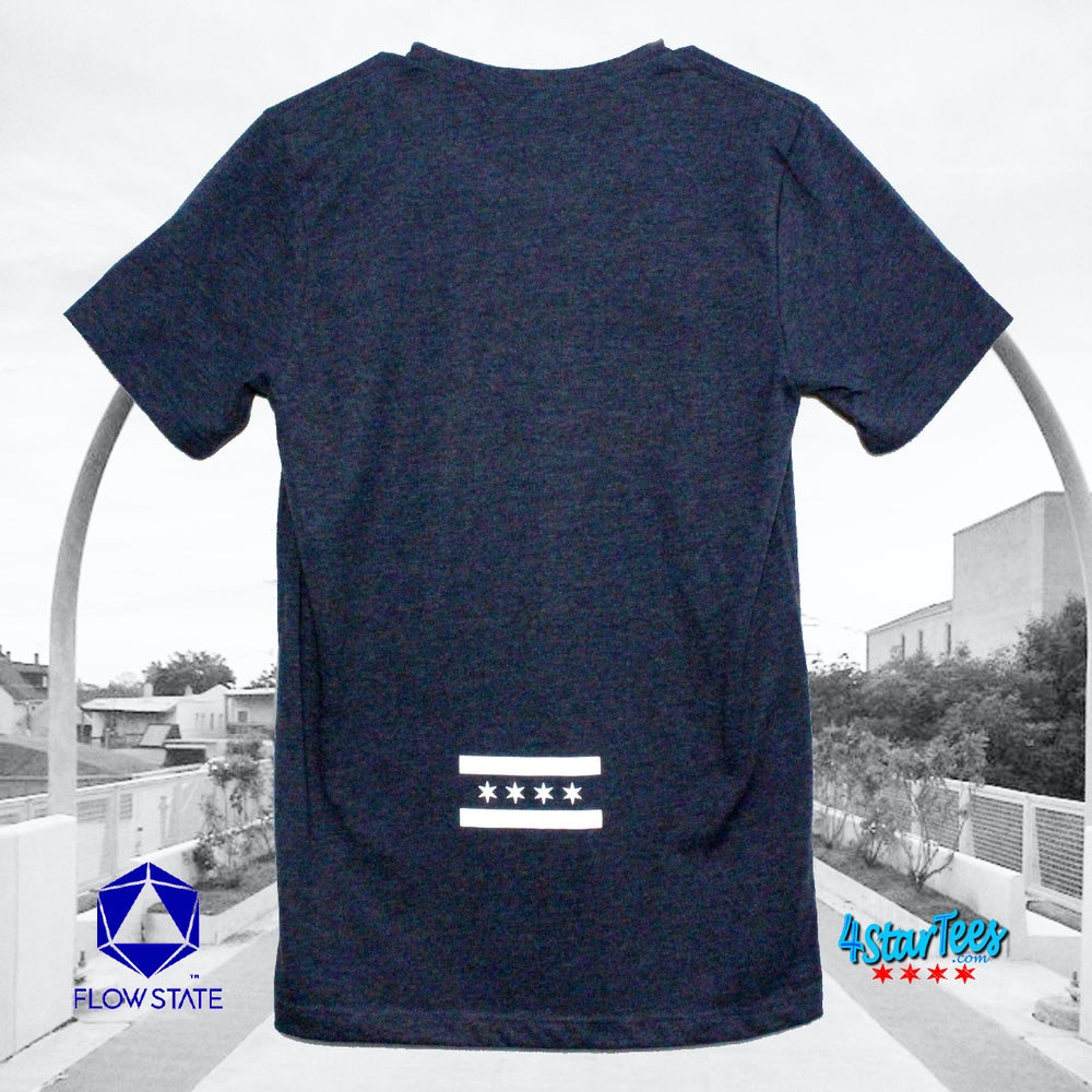 Image of CHI FLY - Chicago Reflective Flag on Heather Navy