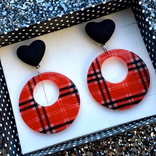 Image of Tartan Sweetheart Hoop Earrings - Red Plaid
