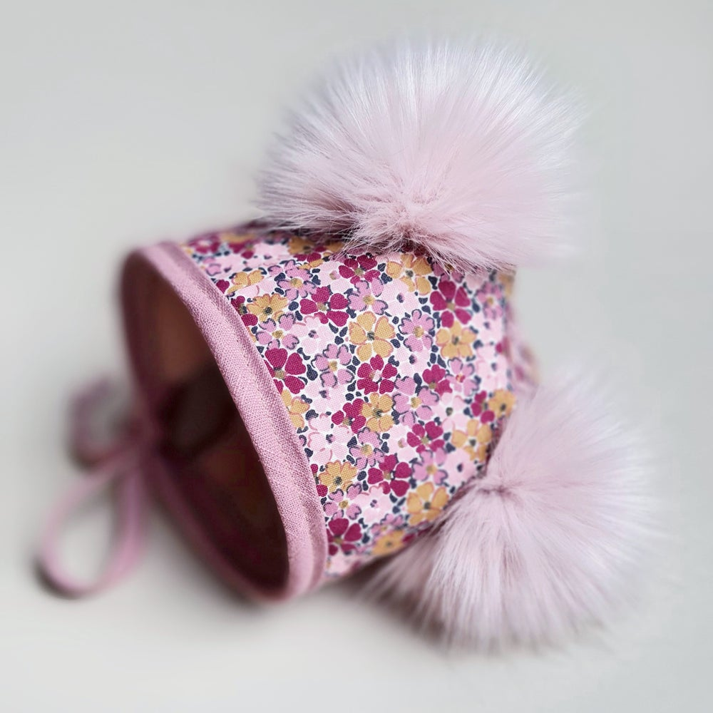 Image of *NEW* Liberty Primula handmade pom pom bonnet