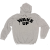 """""""WAKE UP"""" grey hooded sweater with black print + camo draw string"""
