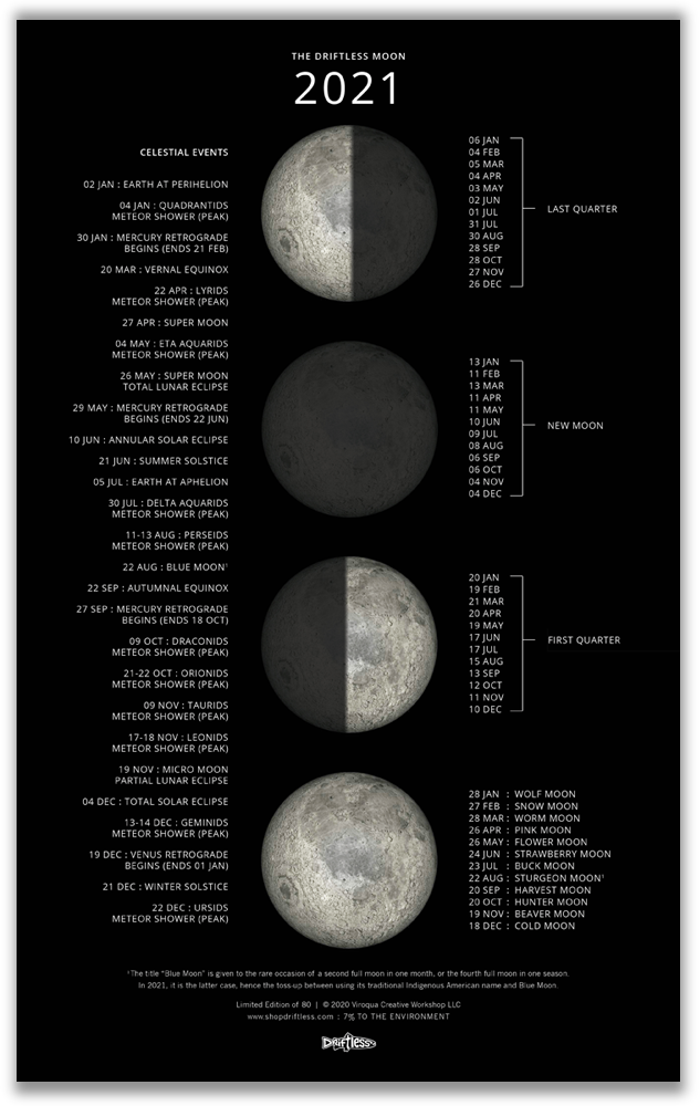 Image of 2021 Lunar Phases Calendar