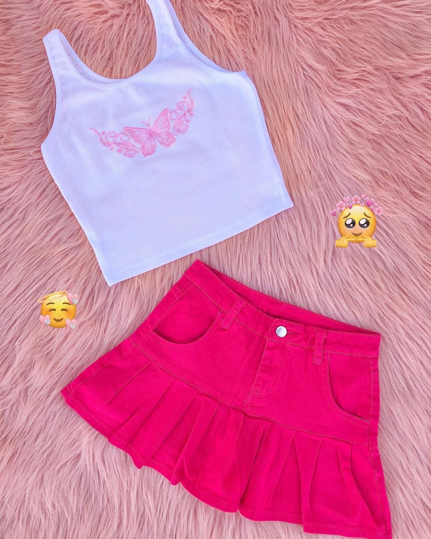 Image of Kiara Pleated Jean Skirt