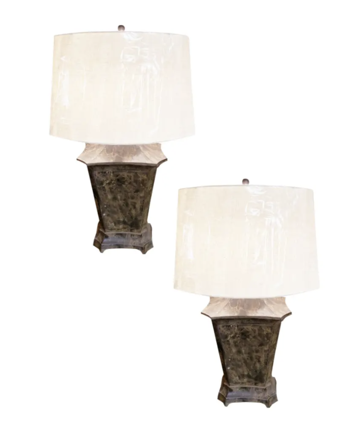 Image of Pair of Vintage Painted Tole Lamps
