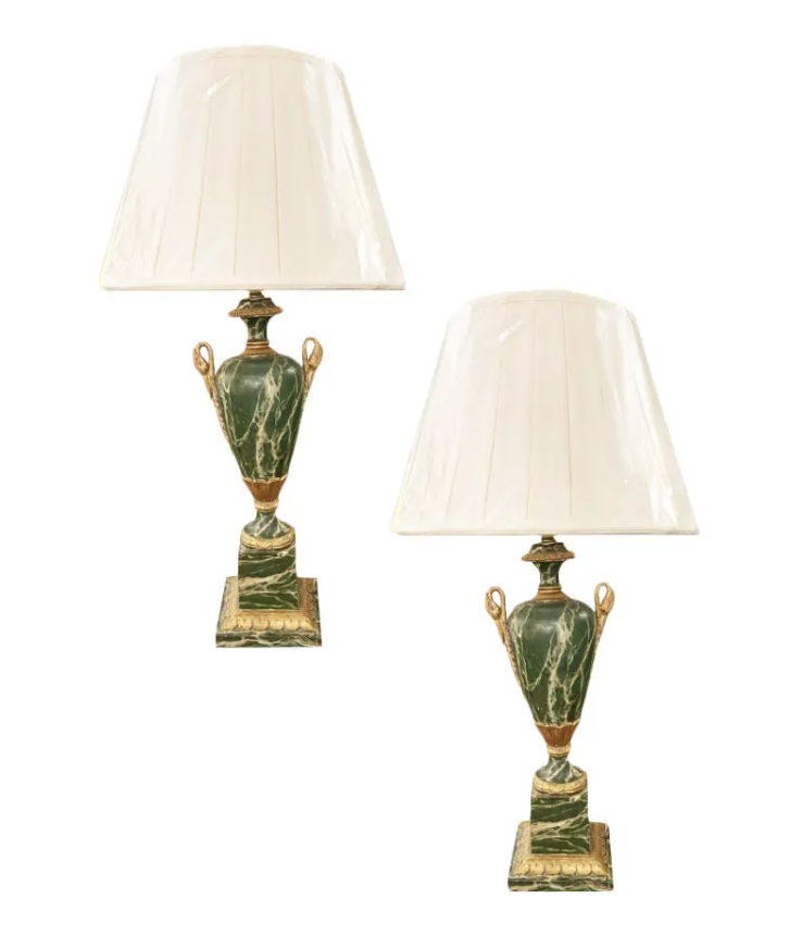 Image of Pair of Vintage Italian Painted Marbleized Lamps