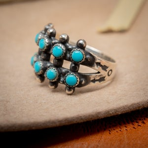 Image of RRL Ralph Lauren Turquoise and Sterling Silver Ring, Two Rows Snake eyes size 7