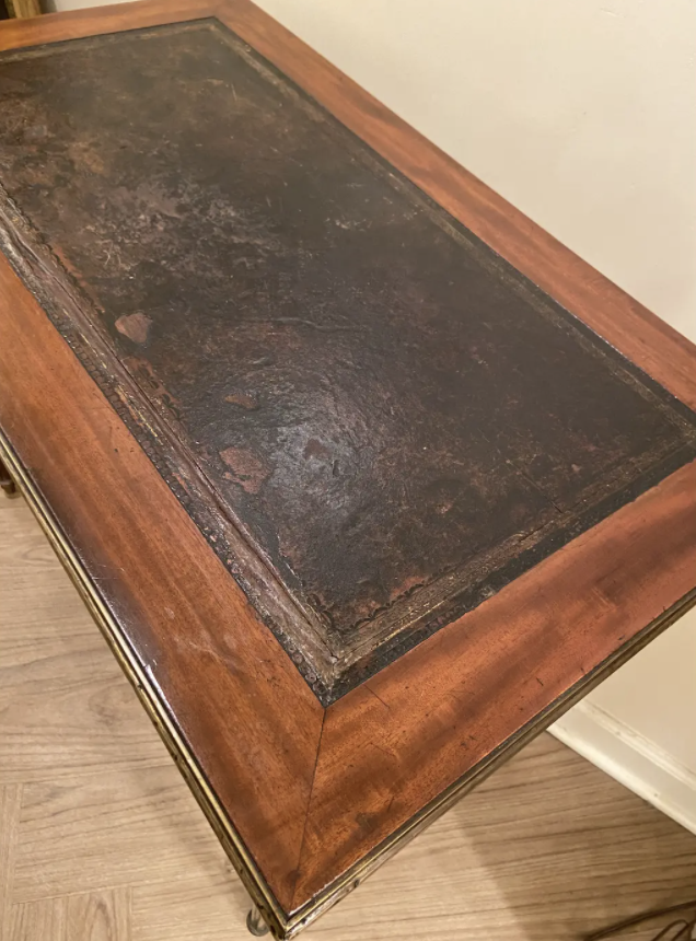 Image of Small Louis XVI Style Writing Desk With Brass Trim and Leather Top