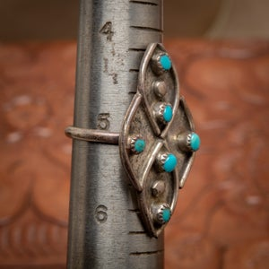 Image of 1970s Turquoise & Sterling Silver Ring with round snake eyes beads of turquoise size 5+