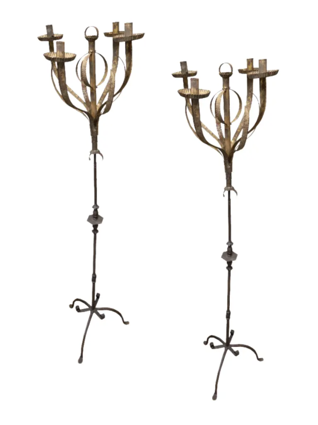Image of Pair of Vintage Spanish Standing Candelabra