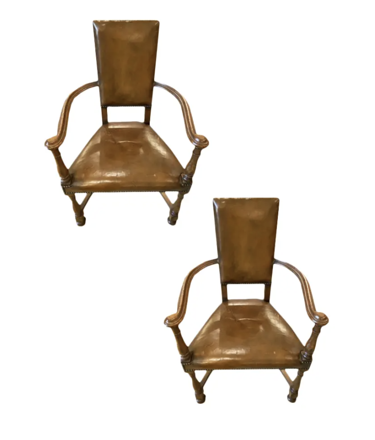 Image of Pair of 19th Century Louis XIII Style Curved Arm Leather Chairs