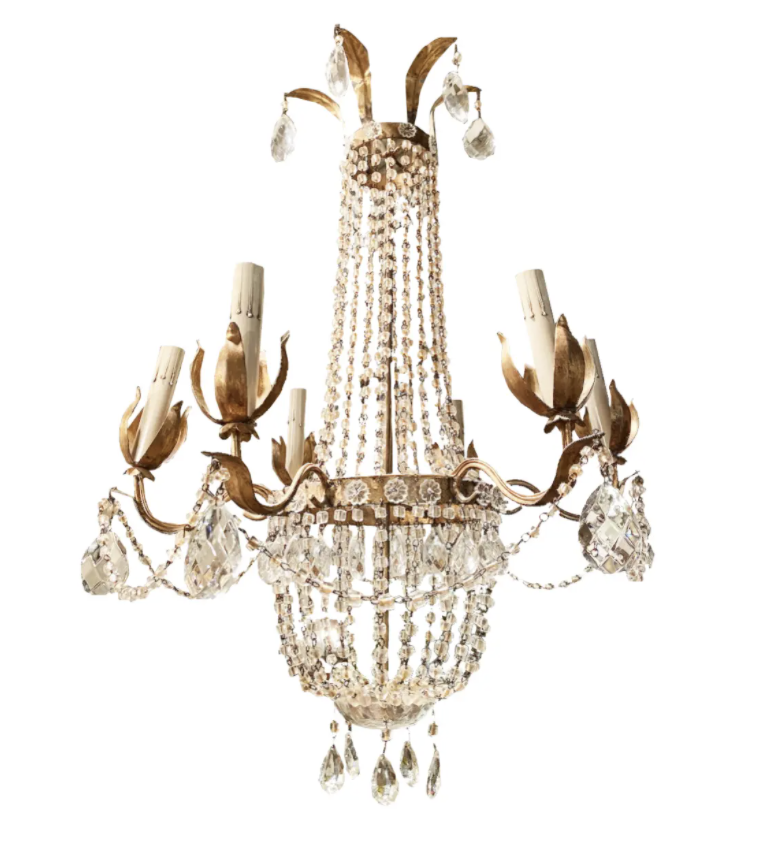 Image of Early 20th Century Italian Crystal Basket Chandelier With Gilt Tole and Iron Accents