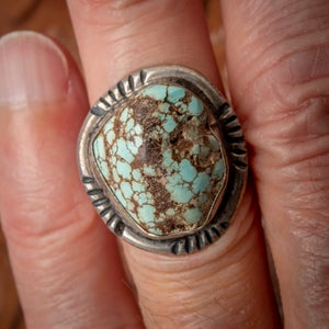 Image of 1970s Vintage Sterling Silver Ring with beautiful Turquoise Nugget stone in a size 7