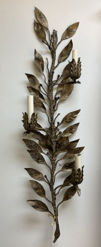 Image of Pair of French Tall Vintage Leafy Sconces