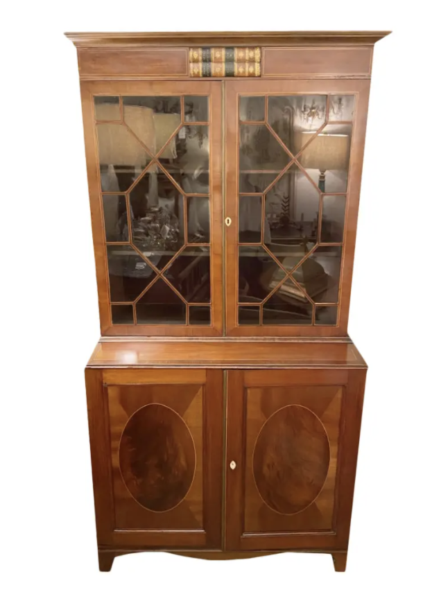 Image of English Mahogany Sheraton Style Bookcase With String Inlay and Leather Book Design