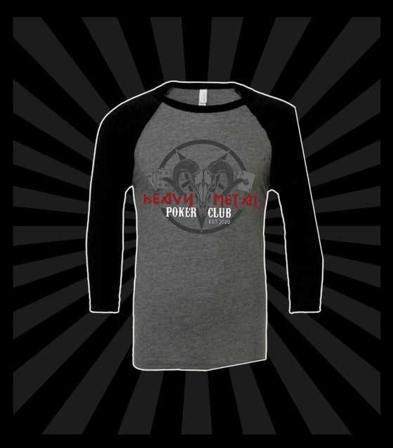 Image of HEAVY METAL POKER CLUB BASEBALL T-SHIRT / ONLY AVAILABLE IN LARGE