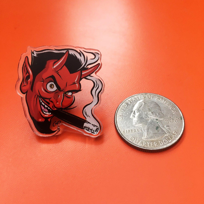 Image of SMOKING DEVIL Acrylic Pin