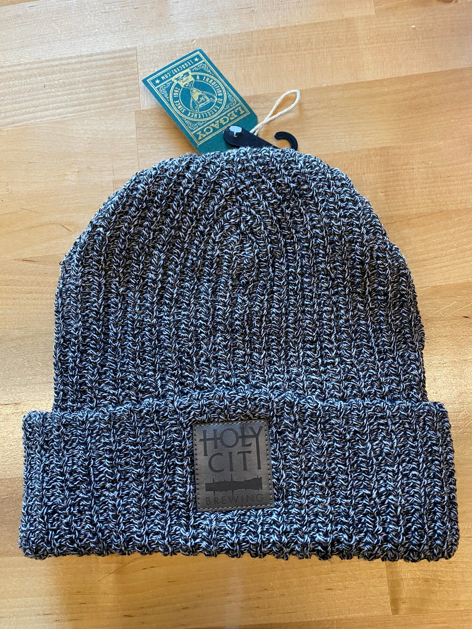 Knit Leather Patch Beanie