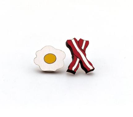 Image of Bacon & Egg Stud Earrings