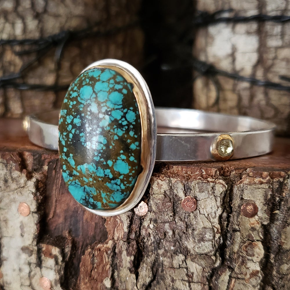 Image of Sterling and Gold Turquoise Bangle