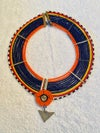 Masai beaded necklace with metal triangle