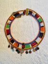 Masai beaded necklace with small metal disks