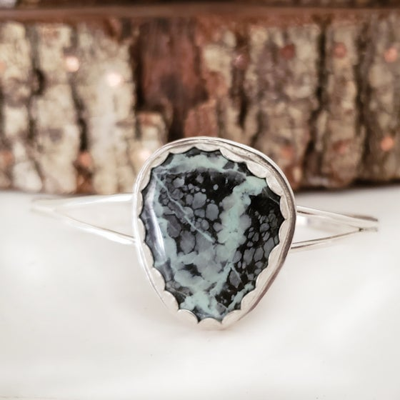 Image of Sterling and Variscite Double Shank Adjustable Cuff Bracelet