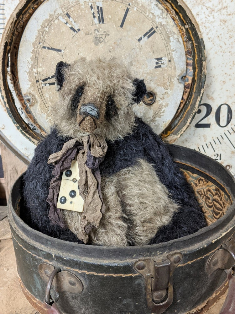 """Image of 10"""" large FAT old PANDA Bear with antique domino charm by Whendi's Bears"""