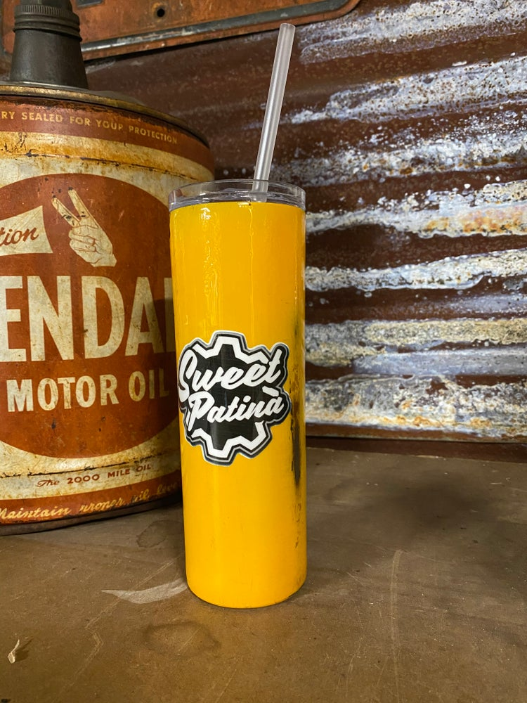 Image of Yellow Skinny Patina'd Tumbler 20oz