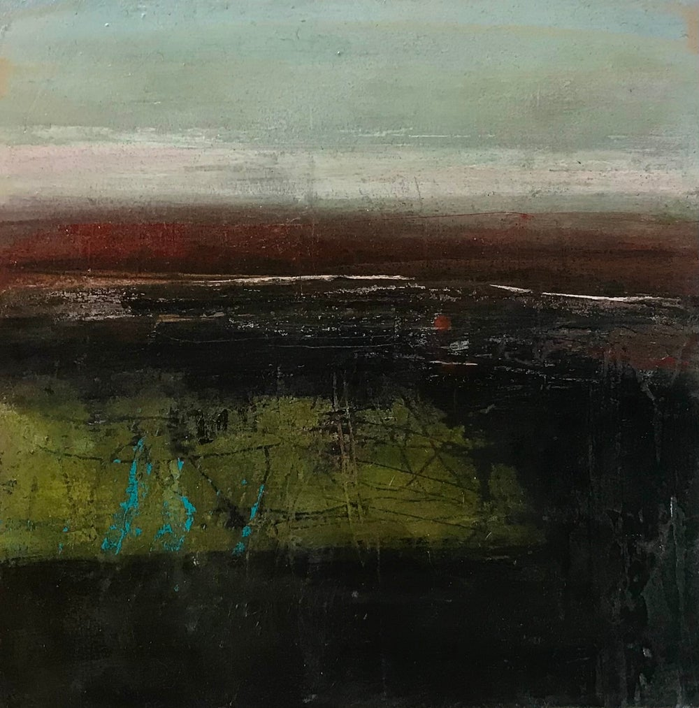 Image of 'Peat Fields' ( acrylic painting on board)