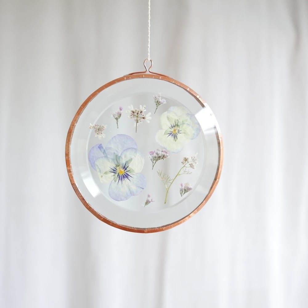 Image of Pressed Flower Suncatcher Pansy and Limonium