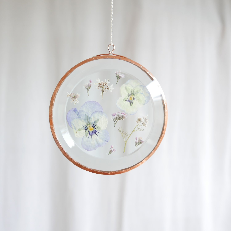 Image of Pressed Flower Suncatcher Pansy and Limonium