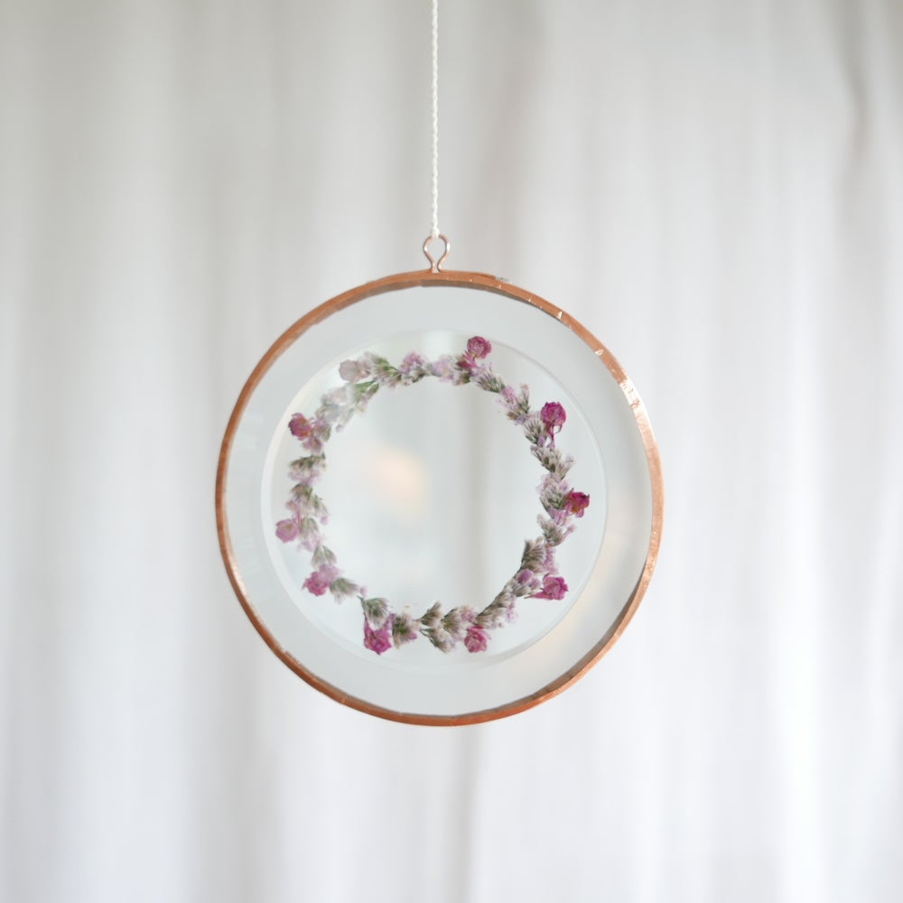 Image of Pressed Flower Suncatcher - Pink Wreath