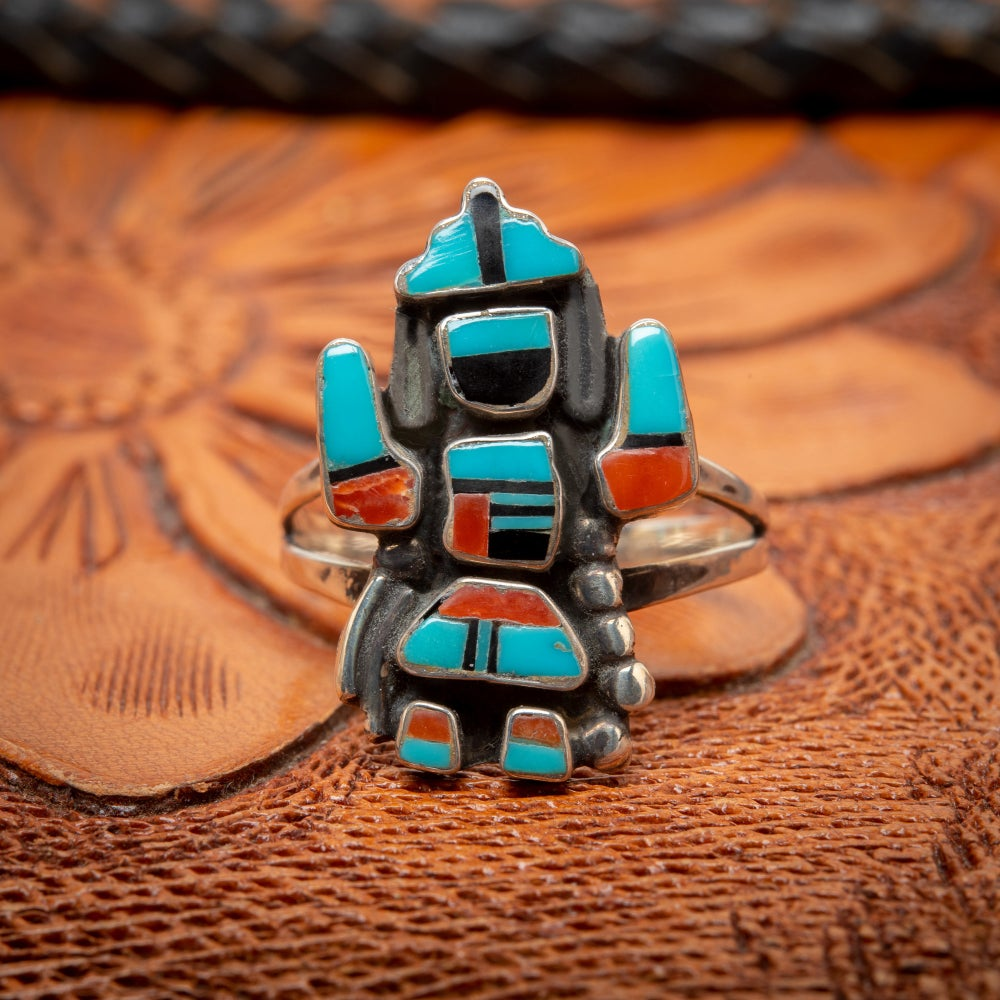 Image of Zuni Inlay Tiny Rainbowman Ring with Turquoise Jet and Coral Inlay size 6.25