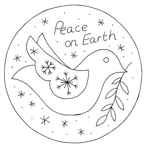 Image of PDF: Doves Felt Christmas Ornament Tutorial & Embroidery Pattern (Digital File)