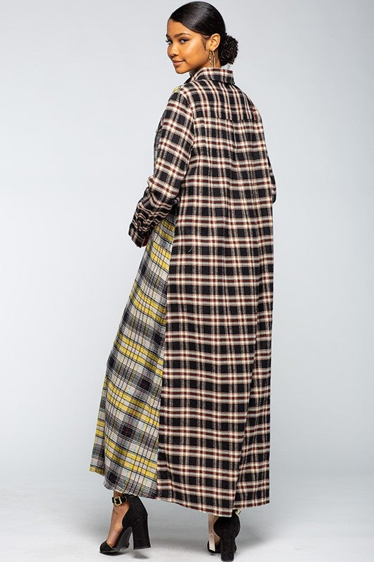 Image of Maxi Shirt Dress With Plaid Colorblock