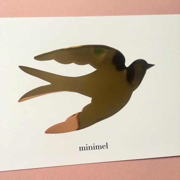 Image of Carte Hirondelle dorure à chaud