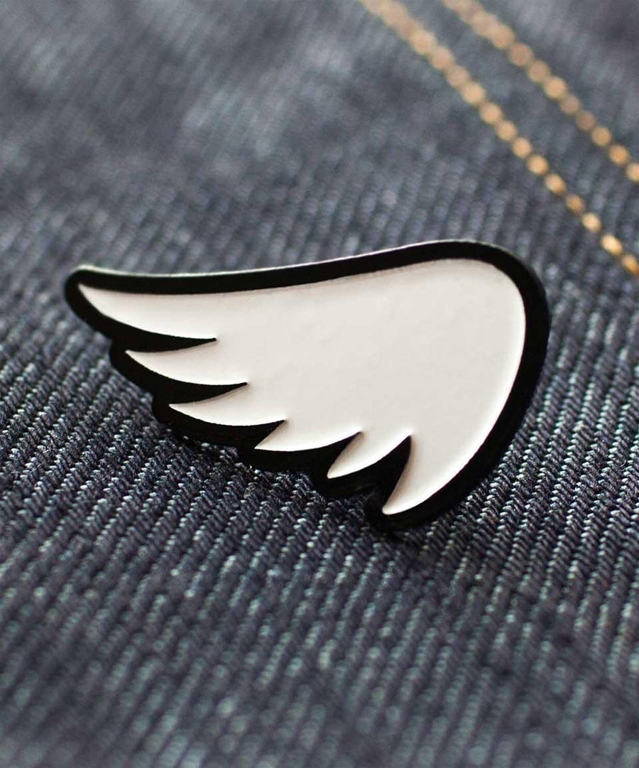 Image of SA1NT WING PIN - WHITE