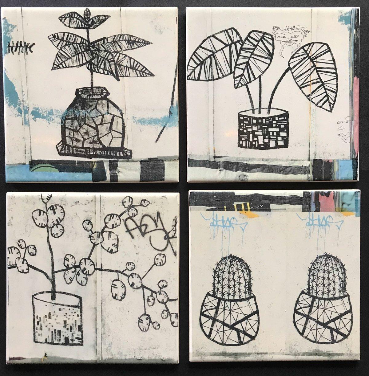 Black and white graffiti Tiles