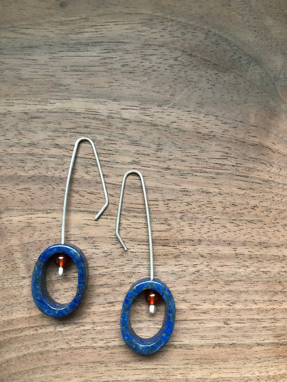 lapis lazuli and carnelion oval silver earrings