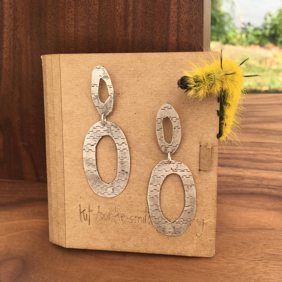 birch texture silver stacked oval earrings