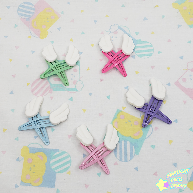 Image of Set of TWO Simple White Angel Wing Snap Hair Clips