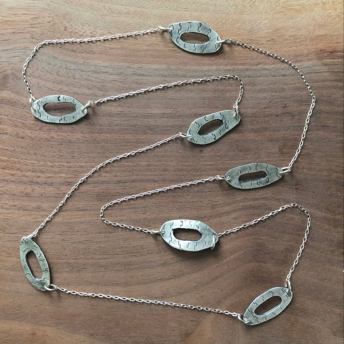 long birch ovals silver necklace