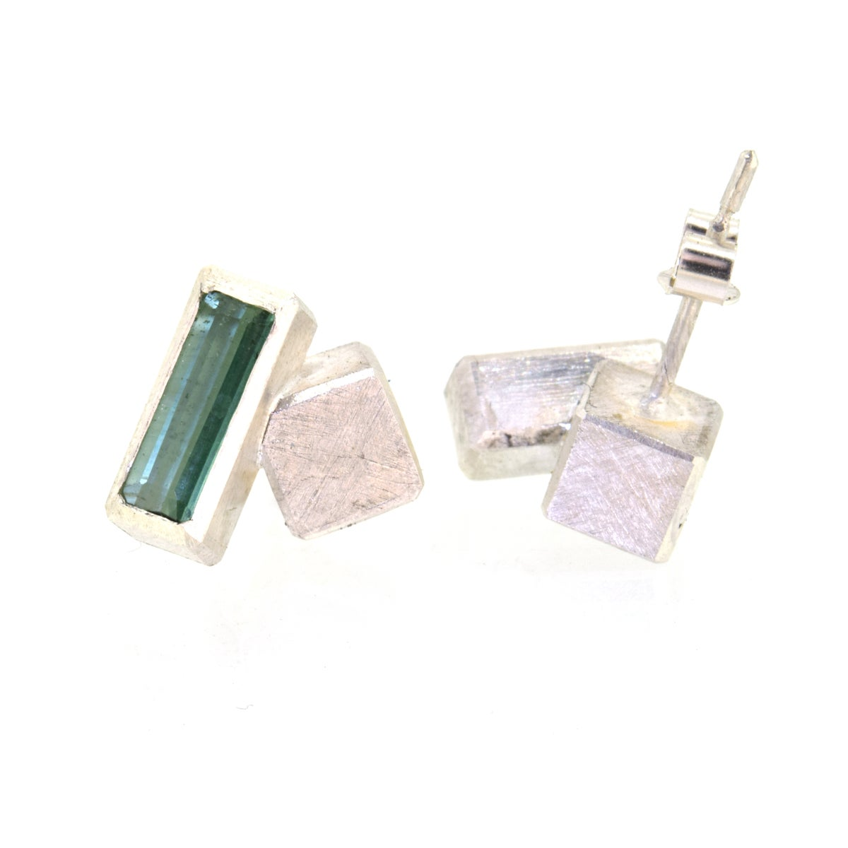 Green Tourmaline cube studs sterling silver. Chris Boland