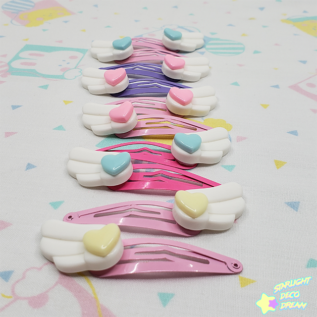 Image of Set of TWO Heart Accented White Angel Wing Snap Hair Clips