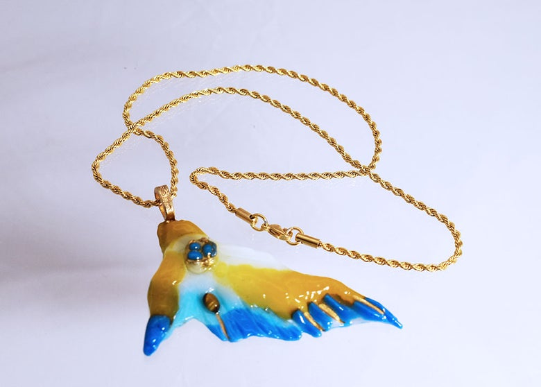 """Image of Fused Glass Pendant  """"On a Wing"""" Blue and Yellow"""