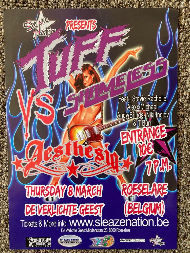 Image of Tuff Stevie Rachelle signed Mini Poster concert Flyer Belgium +2 Color Postcards