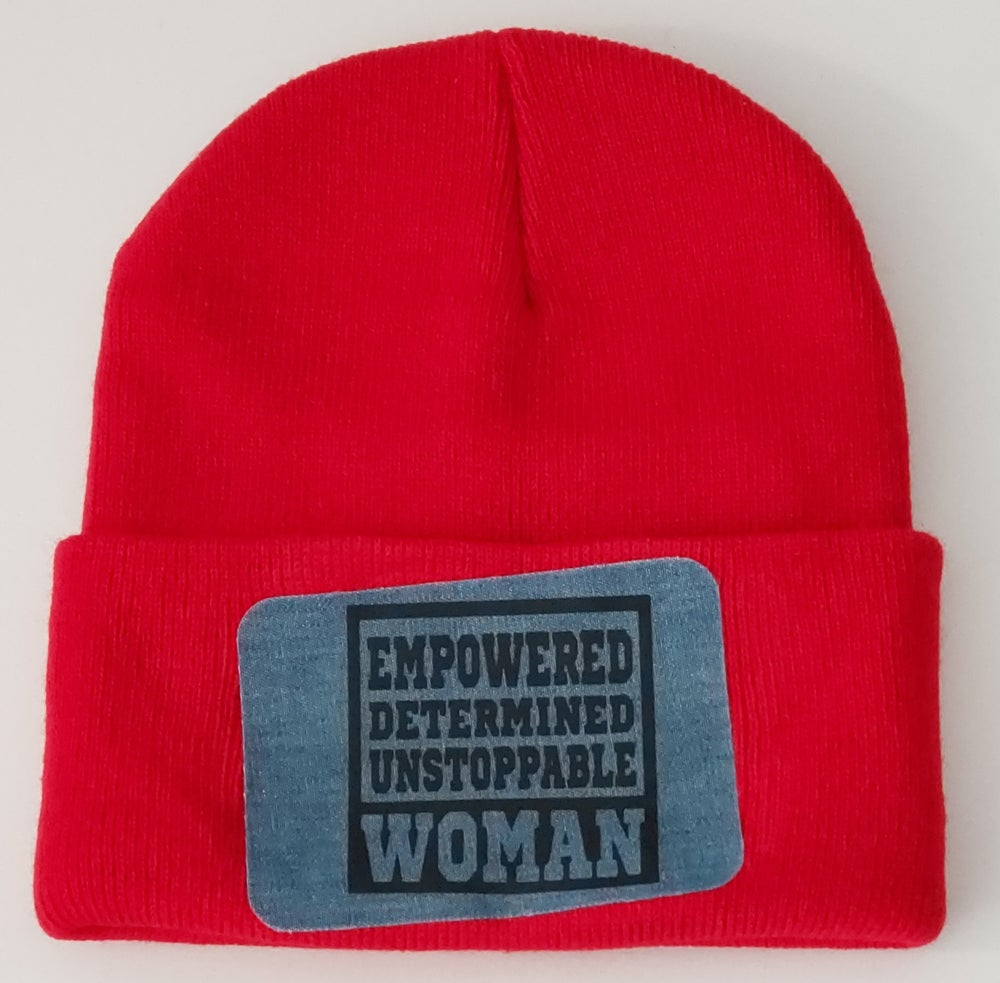 Empowered Determined Unstoppable Woman Denim Patch Beanie