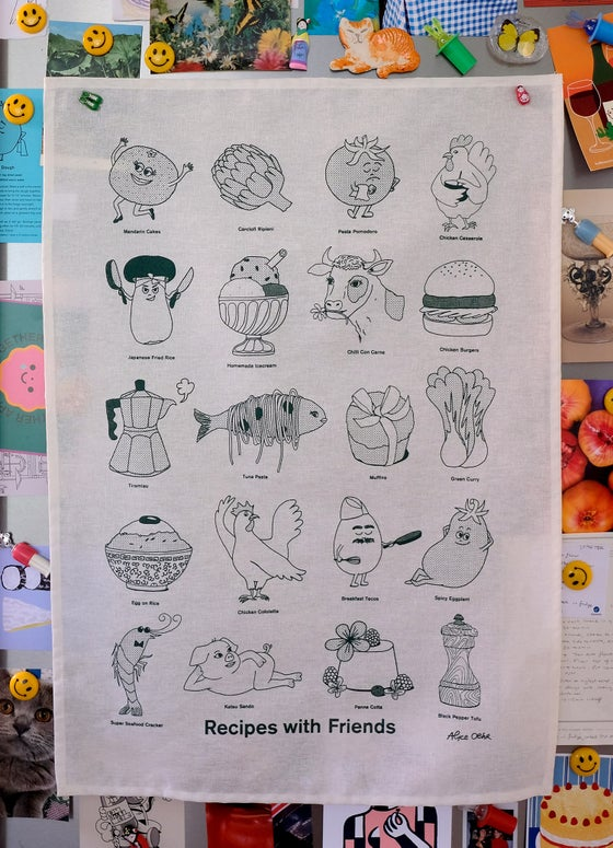Image of Recipes with Friends Tea Towel